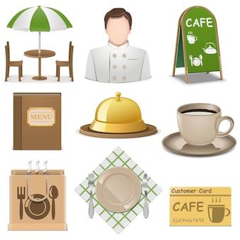Cafe icons lokalisiert auf weißem hintergrund