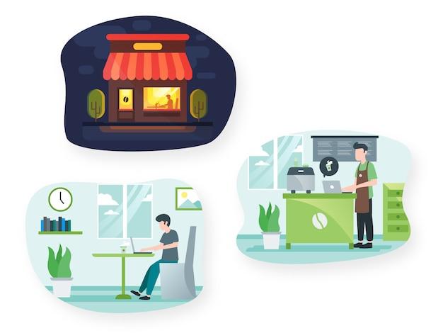 Cafe-illustrationssatz