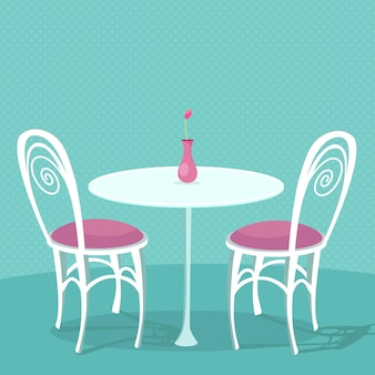 Cafe interior vector illustration zwei weiße stühle mit rosa kissen und runder tisch mit vase
