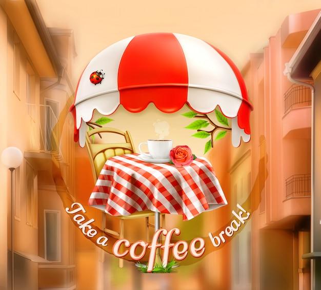 Cafe, kaffee- und konditorei, eine tasse kaffee mit rose auf einem tisch, markise mit marienkäfer. straße, einladung zur pause, mittagspause, werbeschild für cafe und coffeeshops