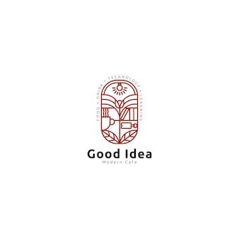 Cafe logo premium mit strichzeichnungen