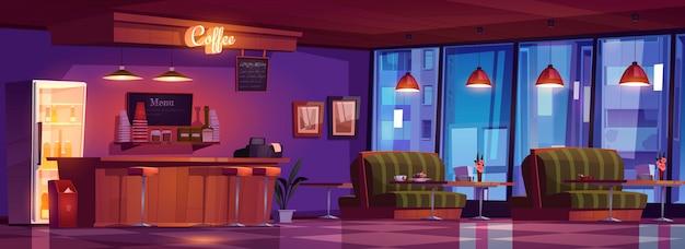 Café mit holztheke, hockern, sofas und tischen