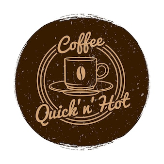 Café oder coffee-shop-markt label grunge-stil