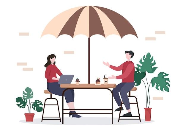Café- oder kaffeehaus-illustration