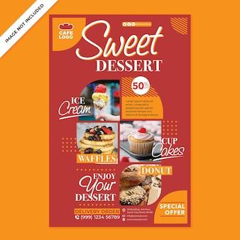Café-poster-werbung im flachen design-stil