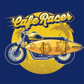 Cafe racer mit surfbrett im design sommerkonzept Premium Vektoren