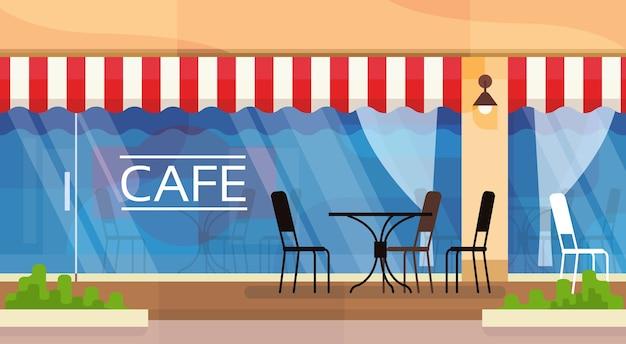 Café-straßen-kaffeestube-stuhl-tabellen-vektor-illustration