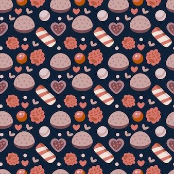 Café süßigkeiten nahtlose muster. café-hintergrund. leckere bonbons und gelee mit backwaren. vektorillustration für die gestaltung des menüs für süßwarenladen, süßwarenladen, teeladen