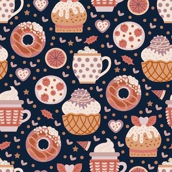 Café süßigkeiten nahtlose muster. kakao trinken. café-hintergrund. köstlicher cappuccino in der tasse mit backwaren. vektorillustration für die gestaltung des menüs für süßwarenladen, süßwarenladen, teeladen