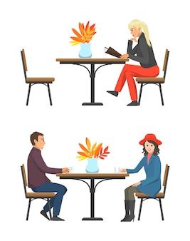 Café-tabelle und kunden, die tee-satz-vektor trinken