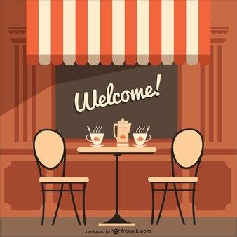 Café-terrasse mit willkommensnachricht