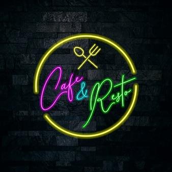 Cafe und resto neon-schriftzug