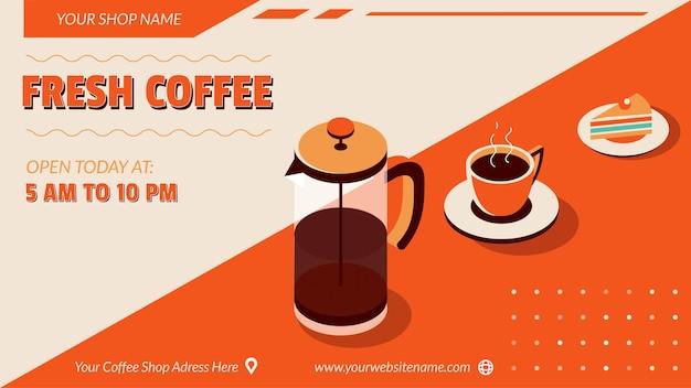 Café-verkaufsbanner in isometrischer form