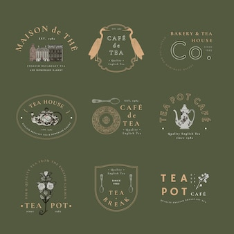 Café-vintage-abzeichen-vorlagenset, neu gemischt aus gemeinfreien kunstwerken