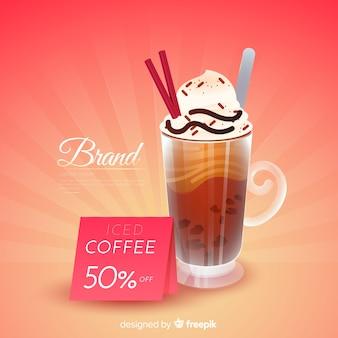 Cafe-werbung mit realistischem design