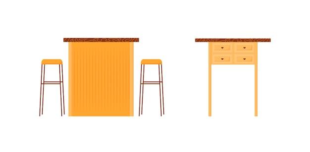 Cafe zähler flache farbe objektsatz. bar stehen. pub schreibtisch mit stühlen. nachttisch. restaurantmöbel isolierte karikatur