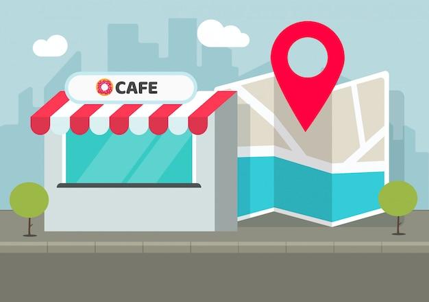Caféshop des speicherstandorts mit flacher karikaturillustration des stiftzeigers und des navigationsstadtplans