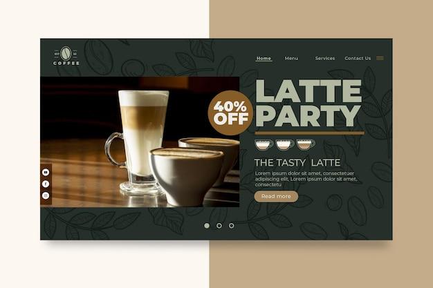 Cafeteria coffee shop landing page vorlage