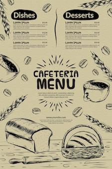Cafeteria restaurant menüvorlage