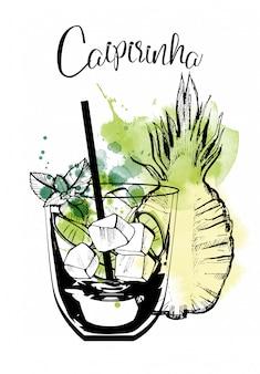 Caipirinha cocktail aquarellillustration