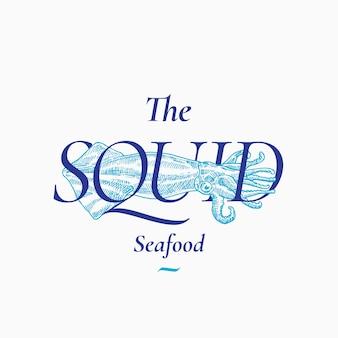 Calamary seafood abstrakte zeichen-, symbol- oder logo-vorlage. hand gezeichnete tintenfischillustration mit klassischer retro-typografie. vintage emblem in premium-qualität. isoliert.