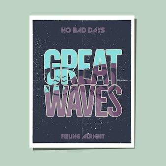 California great waves grafik für t-shirt, drucke. vintage handgezeichnetes emblem im stil der 90er jahre. retro-sommerreiseszene, ungewöhnliches abzeichen. surf-abenteuer-label. lager vektor.