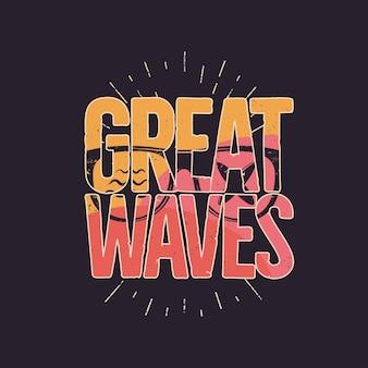 California great waves grafik für t-shirt, drucke. vintage handgezeichnetes emblem im stil der 90er jahre. retro-sommerreiseszene, ungewöhnliches abzeichen. surf-abenteuer-label. stock-vektor-hintergrund.