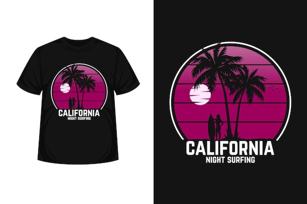 California night surfing merchandes silhouette t-shirt design