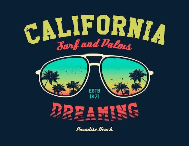 California surfer zusammensetzung. weinleseillustration