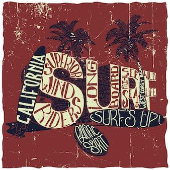 California surfing poster mit zwei palmen und drei surfbrettern