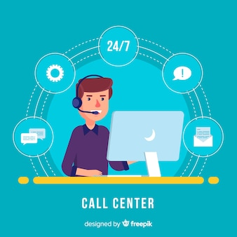 Call-center-agent-design in flachen stil