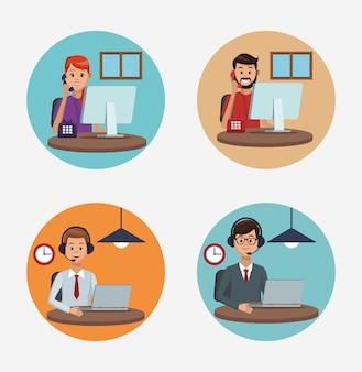 Call-center-agenten-karikaturen