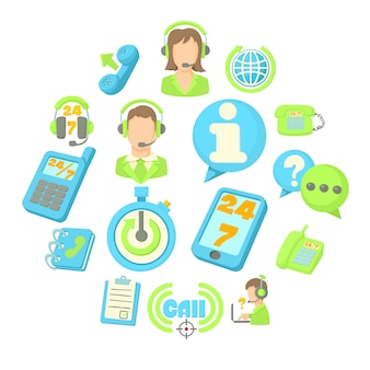 Call-center-artikel-icon-set, cartoon-stil