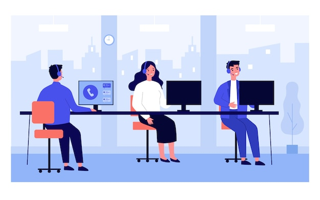 Call-center-betreiber an ihren büroarbeitsplätzen