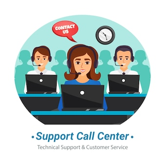 Call-center-betreiber flache zusammensetzung