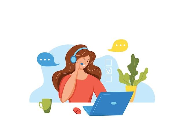 Call-center-betreiber-vektor-illustration. kunden-online-support-managerin, die in kopfhörern mit mikrofon im flachen konzept des kundensupport-büros für web, banner, landing page arbeitet.