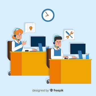 Call-center-design in flachen stil