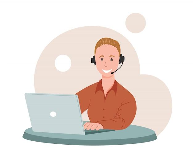 Call center, hotline-abbildungen. lächelnder büroangestellter mit den zeichentrickfiguren der kopfhörer. mitarbeiter der kundendienstabteilung, telemarketing-agenten. multiethnisches, vielfältiges team
