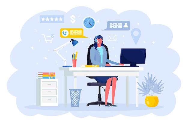 Call center, hotline. lächelnder büroangestellter mit kopfhörern und mikrofon. betreiber, berater im gespräch mit dem kunden