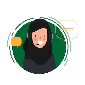 Call-center-job muslimischer oder arabischer volkscharakter animationsszenen-bewegungsgrafik.
