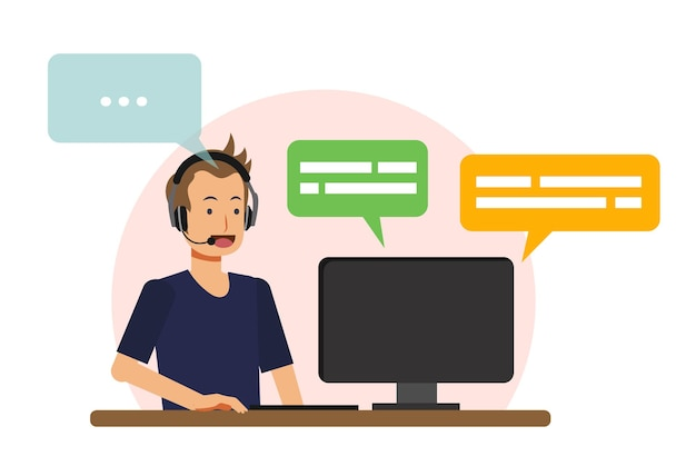 Call-center-konzept, männlicher call-center-agent ist antwort kunde. flache vektor catoon charakter illustration.