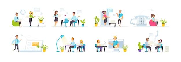 Call center mit personencharakteren in verschiedenen szenen und situationen.