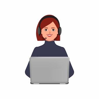 Call center oder kundenservice der geschäftsfrau charakter pose mit einem laptop und headset-telefon.