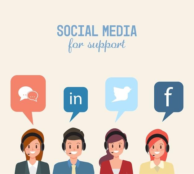 Call center und kundenbetreuung für social media charakter menschen.