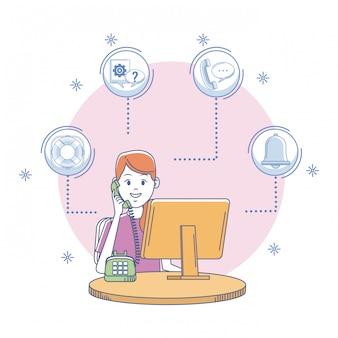 Call-center-vertreter im büro