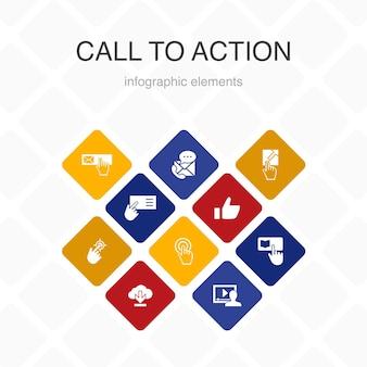 Call to action infografik 10 option farbgestaltung. herunterladen, hier klicken, abonnieren, uns kontaktieren einfache symbole