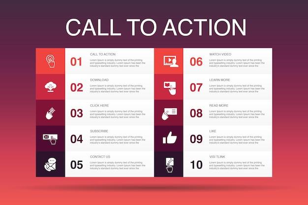 Call-to-action-infografik 10-optionsvorlage. herunterladen, hier klicken, abonnieren, uns kontaktieren einfache symbole