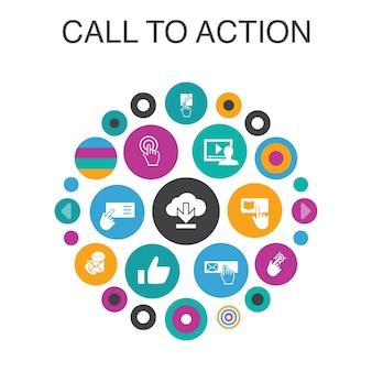 Call to action infografik-kreis-konzept. smart ui-elemente herunterladen, hier klicken, abonnieren, kontakt mit uns aufnehmen