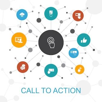 Call to action trendiges webkonzept mit symbolen. enthält symbole wie download, klicken sie hier, abonnieren, kontaktieren sie uns