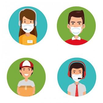 Callcenter für gruppenagenten mit gesichtsmaske